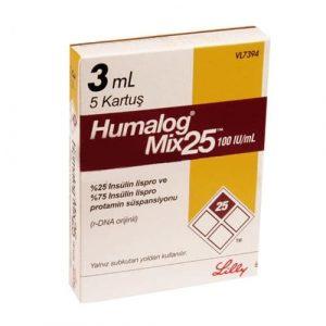 HUMALOG MIX 25 100IU 5 CARTRIDGES
